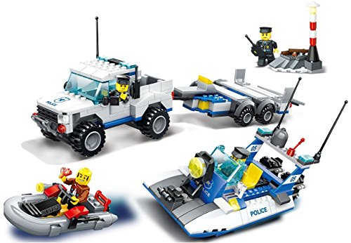 Police Search and rescue ship and police car building blo...