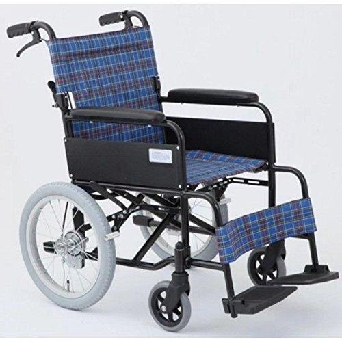 介助式折りたたみ車椅子 アミー16/ターコイズブルー(青) アルミ製 持ち手付き 【MIWA】 ミワ MW-16A B07D1LJV21