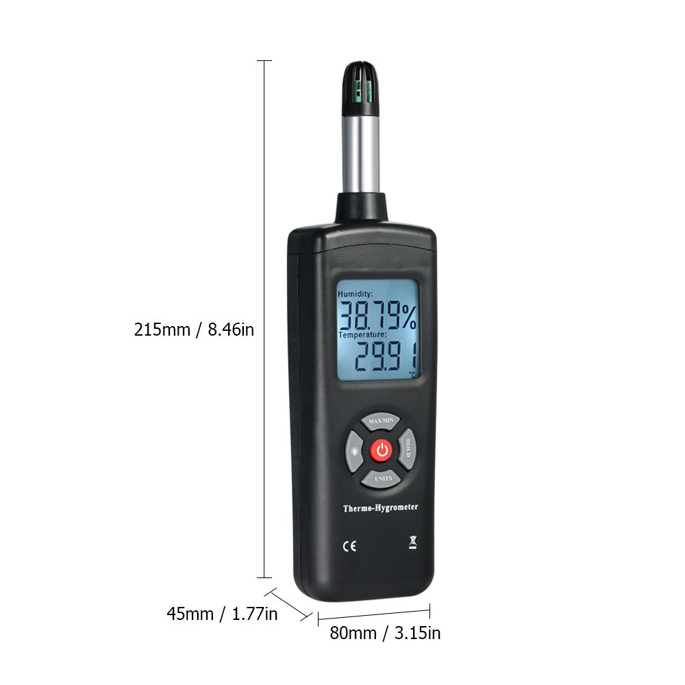 Walmeck Digital LCD Thermo-Hygrometer Thermometer Hygrometer Temperature & Humidity Meter Psychrometer Wet Bulb Dew Point Temperature Detector by Walmeck (Image #3)