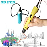 3D Pen for Kids,Newest 3D Printing Pen Compatible ABS PLA Filament, KT-Prase Portable 3D Printer Drawing Pen LCD Screen Supports Mobile Power (Yellow)