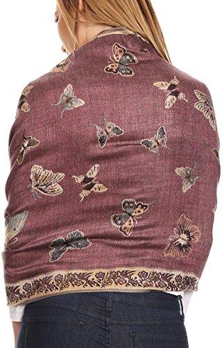 Sakkas 16126 - Liua Long Wide Woven Patterned Design Multi Colored Pashmina Shawl / Scarf - Pink - OS