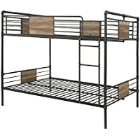 ACME Furniture 37720 Brantley Bunk Bed, Sandy Black and Dark Bronze Hand-Brushed, Queen over Queen