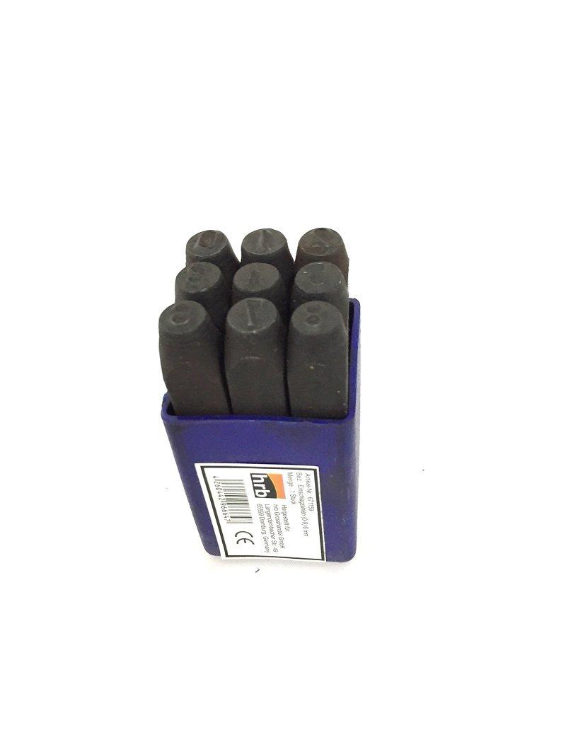 HRB 9 tlg. Zahlenstempel, Schlagzahlen Satz, verschiedene Größen 2-12 mm (Schlagzahlen 5mm)