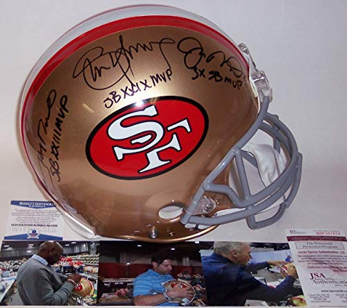 - Jerry Rice, Joe Montana & Steve Young Autographed Hand Signed San Francisco 49ers Throwback Full Size Authentic Football Helmet - with SB MVP Inscriptions - BAS/JSA