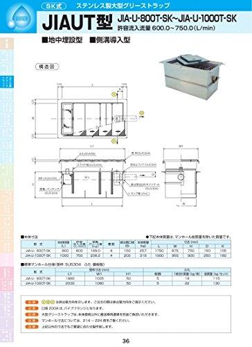 JIAUT型 JIA-U-1000TSK 耐荷重蓋仕様セット(マンホール枠:ステンレス/蓋:溶融亜鉛メッキ) T-6 B071ZL5D2M T-6  T6