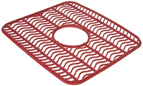 (Rubbermaid Antimicrobial Sink Protector Mat, Red Waves, Small)