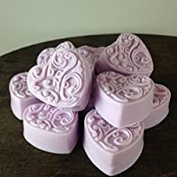Set of 12 Handmade All Natural Shea Butter Soap Small Heart Shaped Guest Soaps Choose Color and Scent Rose or Lavender