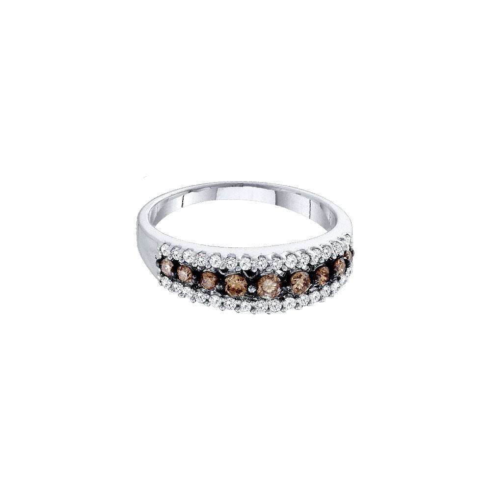 Size 7 - 14k White Gold Round Chocolate Brown Diamond Band Ring (1/2 Cttw)