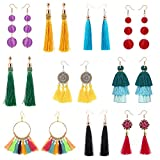 10 Pairs Colorful Long Layered Thread Ball Dangle Earrings Yellow Red Turquoise Tassel Hoop Fringe Bohemian Tiered Tassel Drop Earrings Soriee Stud Earrings Gift Set for Girls Women
