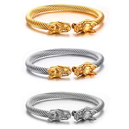 Jakob Miller 3PCS Elastic Adjustable Stainless Steel Twisted Cable Cuff Bangle Men's Double Head Dragon Bracelet Adjustable Cool Polished Double Cable Bangle Bracelet