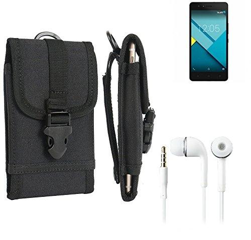 bolsa del cinturón / funda para BQ Readers Aquaris M5, negro + Auriculares | caja del teléfono cubierta protectora bolso - K-S-Trade (TM)