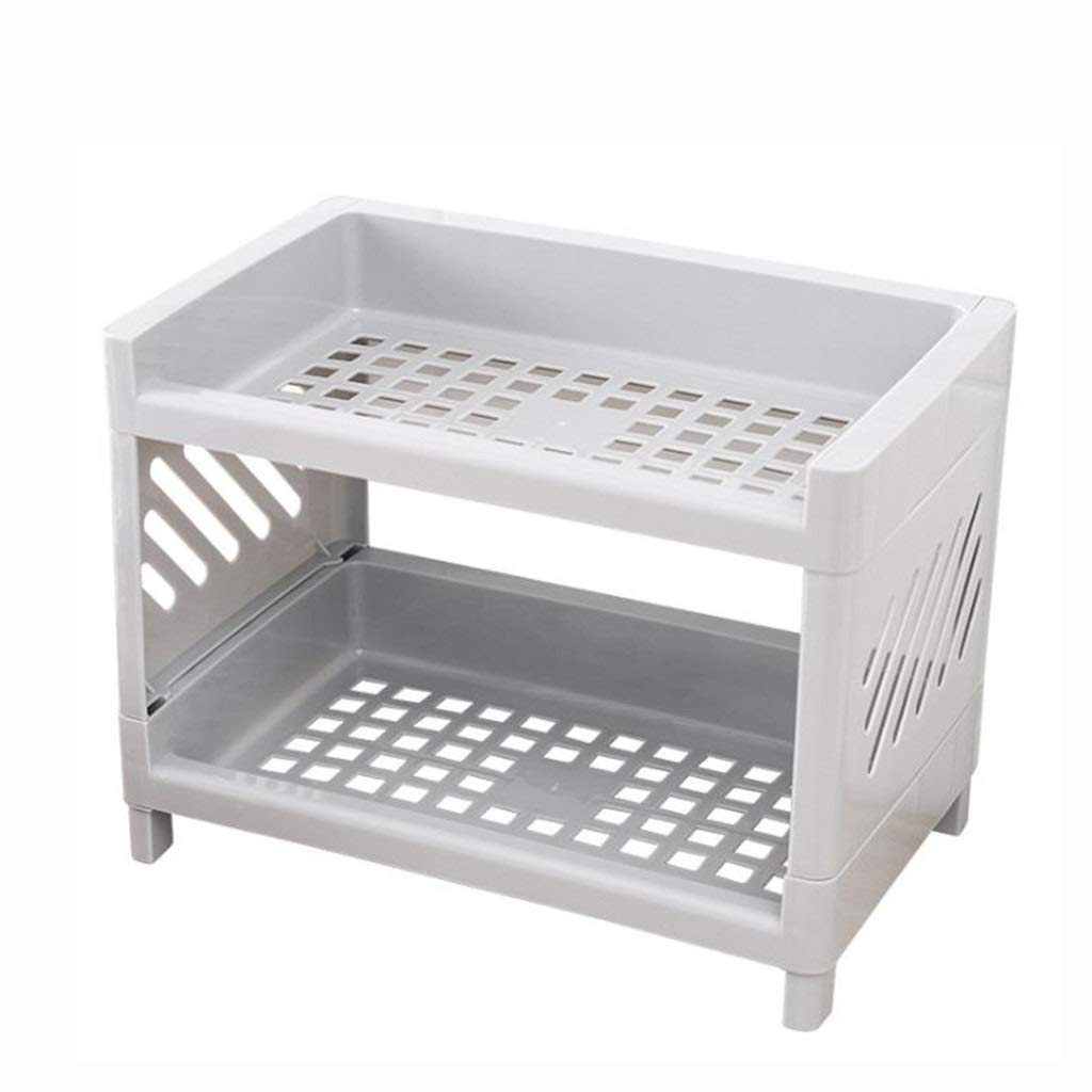 AIWO-PQ Rack PP Double-Layer Multi-Functional Environmental Protection Bathroom Kitchen Storage Rack (Color : Gray)