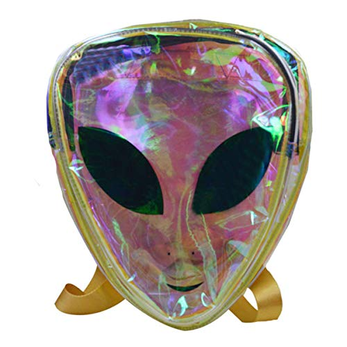 (Goodbag Boutique Women Mini Holographic Laser Backpack for Girls Clear Alien Small Backpack for Festival, Balls, Club,)