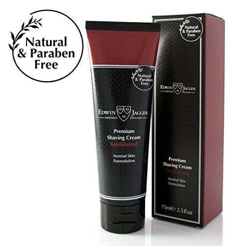 Edwin Jagger Shaving Cream - Edwin Jagger 99.9% Natural Premium Shaving Cream, 75ml Tube - Sandalwood, 2.5-Ounce