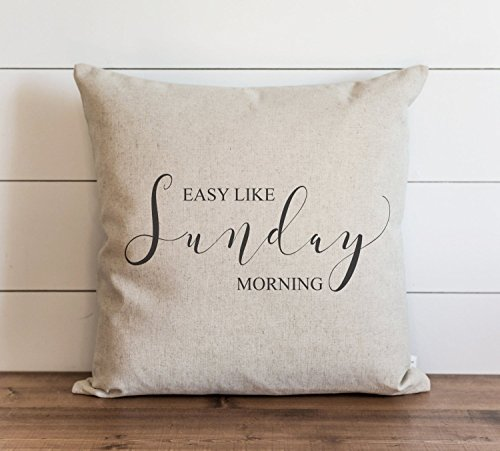 CAROLJU Easy Like Sunday Morning 18 x 18 inch Pillow Cover Lionel Richie Throw Pillow Lyrics Sentimental Gift Cushion Cover ()