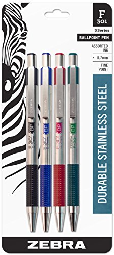 Zebra F-301 Ballpoint Stainless Steel Retractable Pen, Fine Point, 0.7mm, Assorted Ink, 4-Count: Black, Blue, Green, Red
