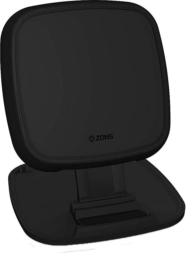 ZENS Qi-certified wireless quick charge pad/stand 15W negro, diseño convertible, soporta carga rápida inalámbrica de hasta 15W - Funciona con todos los teléfonos con carga inalámbrica