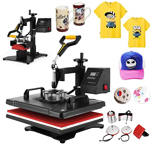 OrangeA 12x15 Inch 5 IN1 Heat Press Digital LED Controller T Shirt Press Machine Multifunction Sublimation Heat Transfer Press Swing-away Design (12x15 Inch (5 IN1))