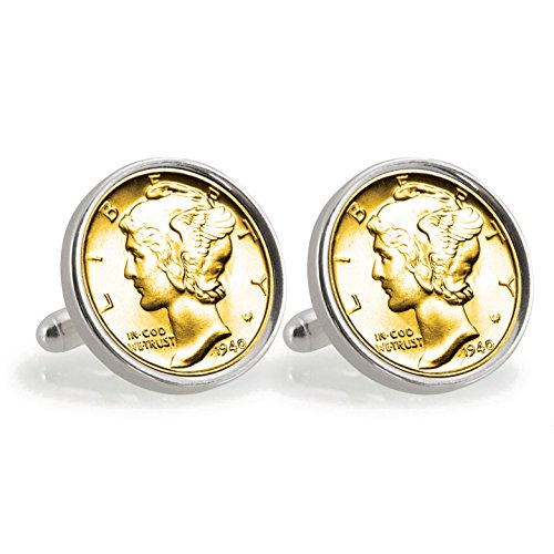 (American Coin Treasures Gold-Layered Silver Mercury Dime Sterling Silver Cuff Links)