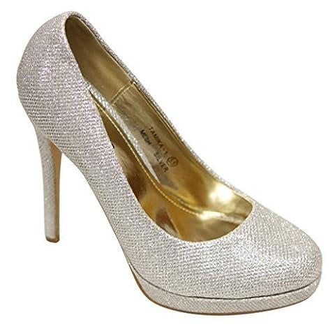 Bella Marie Tamika-1 Women's classic occupational glitter leather platform stiletto heels pump Silver - Stiletto Heel Classic Pumps