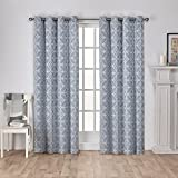 Exclusive Home Cressy Geometric Textured Linen Jacquard Window Curtain Panel Pair with Grommet Top, 54×84, Steel Blue, 2 Piece