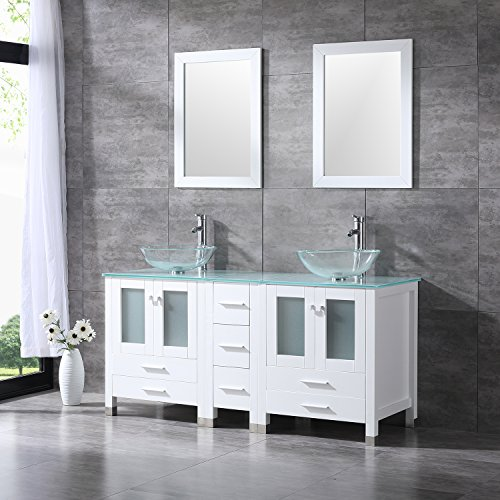 Walcut 60Inch White Bathroom Vanity Cabinet with Double Artistic Glass Vessel Sink Combo Set (Clear) by WALCUT