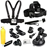 GoPro HERO4 Session - HERO4 Session - HERO4 - HERO3+ - HERO3 (Black - Silver & White) - HERO & HERO+ LCD Accessory Kit Includes Chest Mount + Head Mount + Selfie Monopod + 2 J-Hook Mount + 2 Tripod Adapters + 360° Car Suction Cup Mount Holder + Microfiber Cleaning Cloth