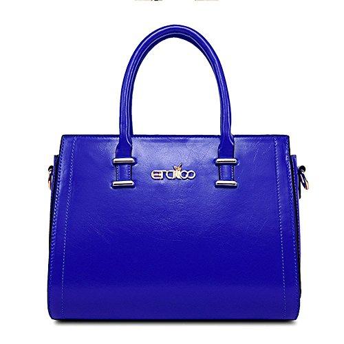 qckj Fashion Cross Body PU Sac à bandoulière Fermeture Éclair Femmes Bleu bandbag