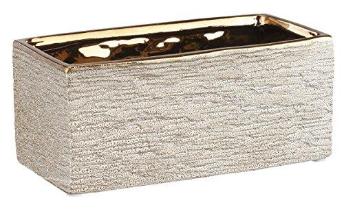 Copper Rectangular Planter - Napco Ceramic Copper Rock Textured Rectangle Planter