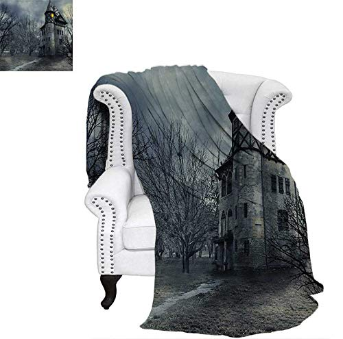 (Lightweight Blanket Halloween Design with Gothic Haunted House Dark Sky and Leafless Trees Spooky Theme Custom Design Cozy Flannel Blanket 70