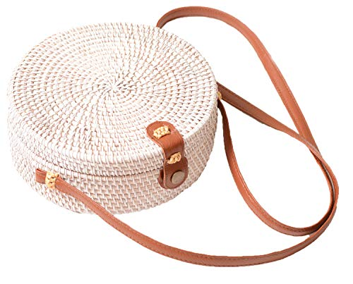White Natural Leather - Handwoven Round Rattan Bag Shoulder Leather Straps Natural Chic Hand Gyryp (Leather buttons(white and brown))