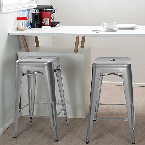 Furmax 24 Inches Metal Bar Stools High Backless Indoor-Outdoor Counter Height Stackable Stools Set of 4(Silver)