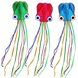 #6: HappyToy 3pcs Blue Red Green Large Octopus Kites - 28