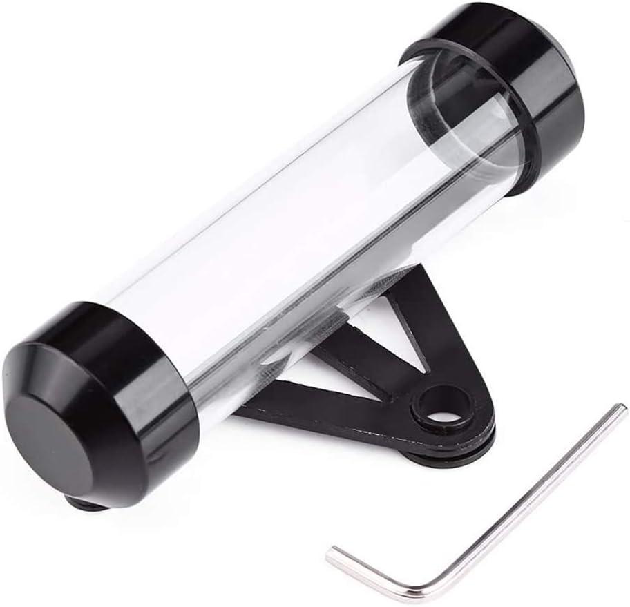 Cylindrique Moto en Alliage daluminium et Acrylique G/én/érale Tube /à Disque de S/écurit/é /Étanche Titulaire Cadre pour la Plupart des Motos INTVN Support de Vignette Noir