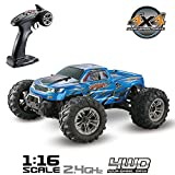 Hosim 1:16 Scale 4WD Remote Control RC Truck 9130, High Speed Racing Vehicle 38km/h 2.4Ghz Radio Controlled Off-Road RC Car Electronic Monster Truck R/C RTR Hobby Cross-Country Car Buggy for Kids Adults Gift (Blue)