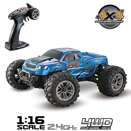 m/h 4WD 2.4Ghz Remote Control Truck 9130, 1:16 Scale Radio Conrtolled Off-Road RC Car Electronic Monster Truck R/C RTR Hobby Cross-Country Car Buggy (Blue) ()