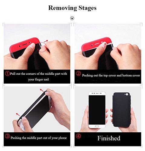 MAETEK Iphone7 plus Cover Case 3 in 1 Ultrafino Ligero Resistente a los arañazos Resistente a los arañazos PC Material Case for Apple Iphone 7 plus.-red&black gold