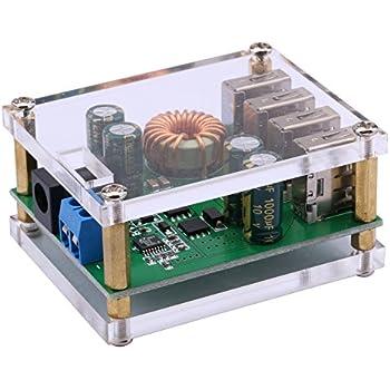 Yeeco DC DC 7-60V to 5V Voltage Regulator Buck Converter 5A Volt Transformer Power Supply Module with 4 USB Ports