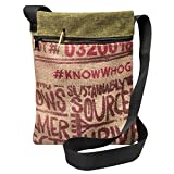 Upcycled Coffee Bean Burlap Crossbody Bag With Black Webbed Handles, Made In The US, By Sackcloth & Ashes (Cafe)