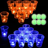 Glow in The Dark Beverage Pong Set, Light Up Pong Cups for Indoor Outdoor Nighttime Competitive Fun, 22 Glowin