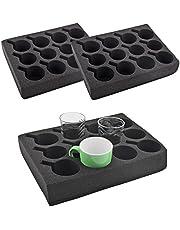 2x kopjeshouder glashouder 12 stuks zwart speciaal schuim 330 x 245 x 60 mm