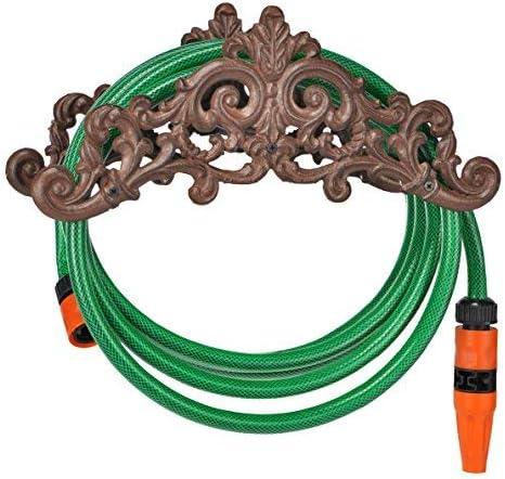 Resistente soporte de pared para mangueras de hierro fundido – Soporte para manguera de jardín – Antiguo jardín manguera plana: Amazon.es: Jardín