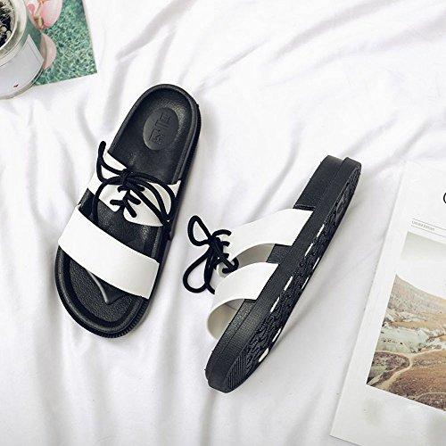 BUIMIN Chancletas Zapatillas Para Adulto-Unisex Atractiva De Pareja Correas Antideslizantes Transpirable Para Playa Casual Moda Verano Color Negro/Blanco. (38-39, Blanco)