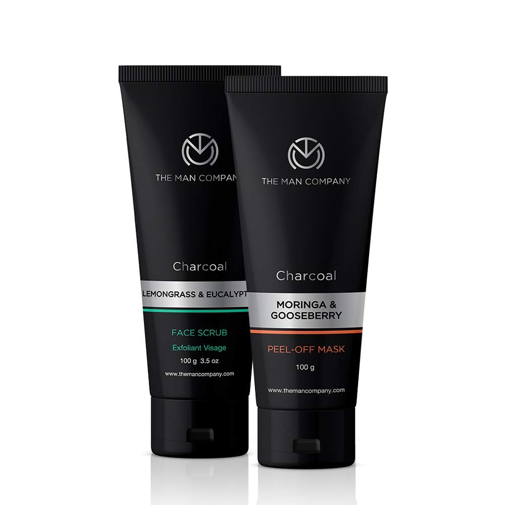 Buy The Man Company Activated Charcoal Peel Off Mask Moringa Gooseberry And Charcoal Scrub Lemongrass And Eucalyptus Essential Oils Dead Skin And Blackheads Removal Mask Made In India Online At