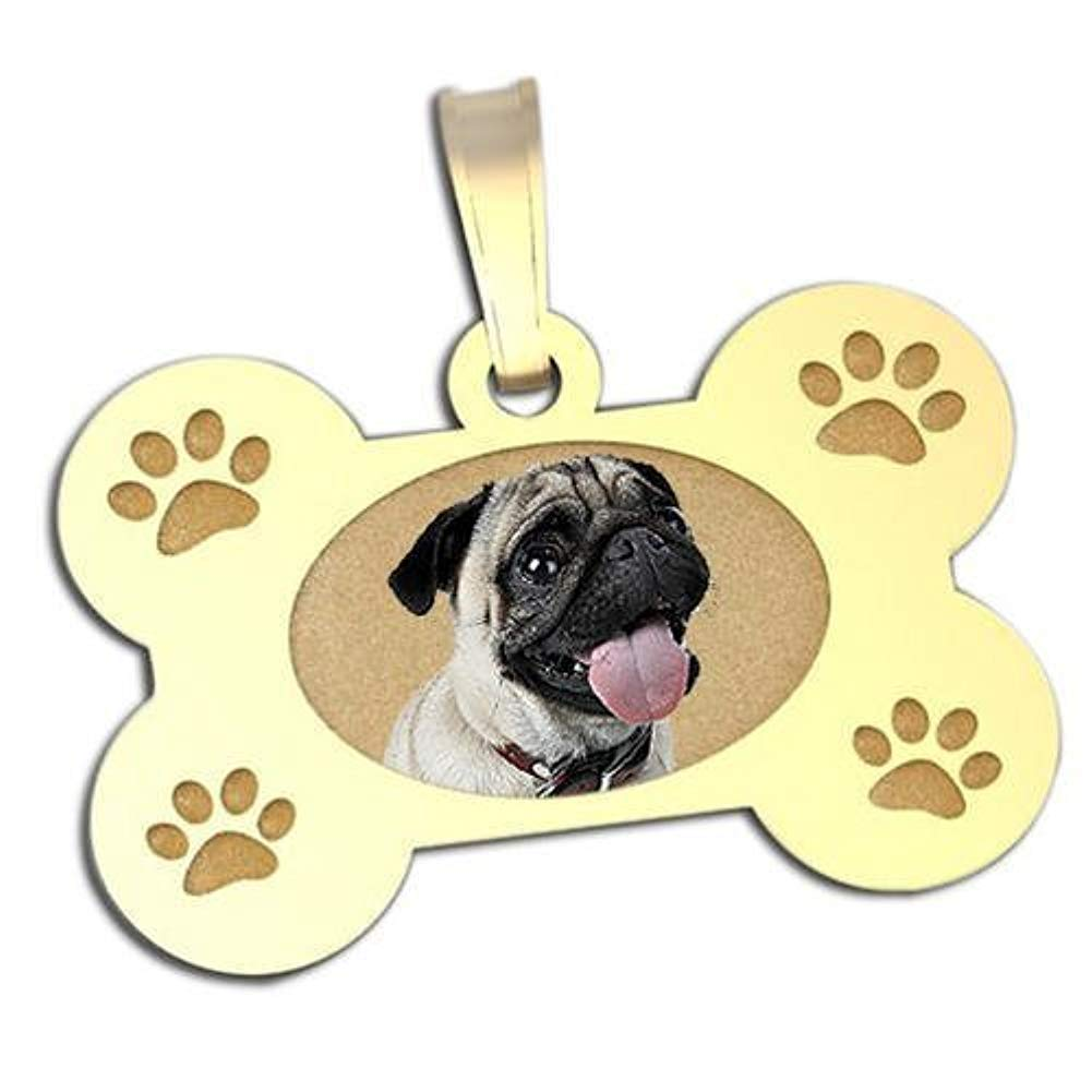 or Sterling Silver in 3 Sizes White Solid 14K Yellow PicturesOnGold.com Photo Engraved Dog Bone Photo Pendant