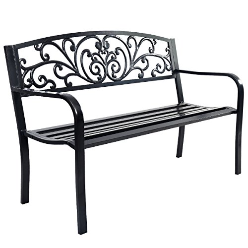 Long 50'' Patio Park Garden Bench Porch Chair Steel Frame Cast Iron Backrest by Lotus Analin