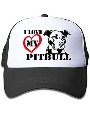 I Love My Pitbull 1 On Kids Trucker Hat, Youth Toddler Mesh Hats Baseball Cap