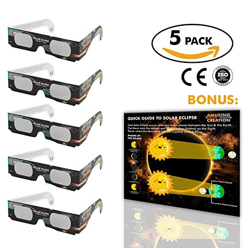 Solar Eclipse Glasses (5 Pack) | CE & ISO Certified Eclipse Glasses For Direct Solar Viewing | Protection For The Family | Safety Sun Glasses To View The Total Eclipse | Bonus Eclipse Poster 2017 |
