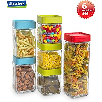 Glasslock 12-Piece Square Block Canister Set  sc 1 st  Amazon.com & Amazon.com: Food Storage containers canister set - Cereal Container ...