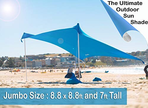 ZiggyShade Pegs Jumbo Quality Beach Sunshade – UPF50+ Beach Tent + Sandbag Anchors & 4 Free Pegs – UPF50+ Quality Lycra Fabric - Perfect Sun Shelter for Kids & Family at The Beach, Parks, Camping & Outdoors (Sky Blue) [並行輸入品] B07R3Y46FP, ジャンプラボ:8c25251a --- anime-portal.club